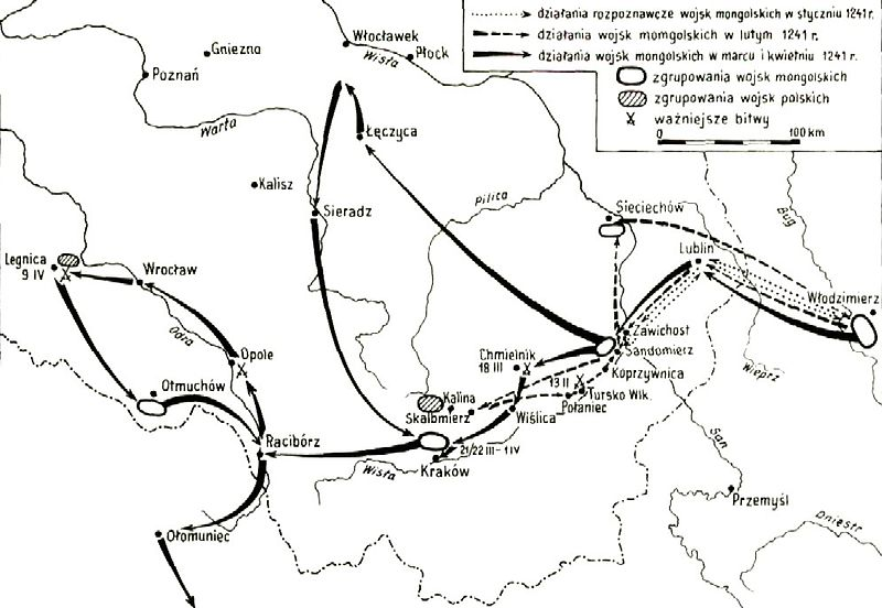 Mapa najazdu Mongolskiego w 1241 r. fot. wikipedia.org