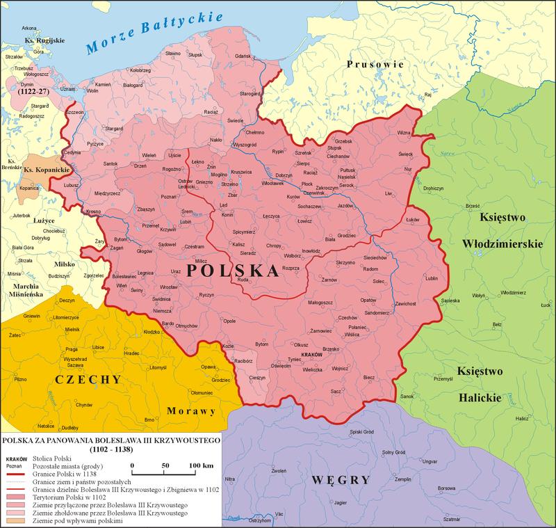 Mapa Księstwa polskiego z dzielnicami Zbigniewa i Bolesława