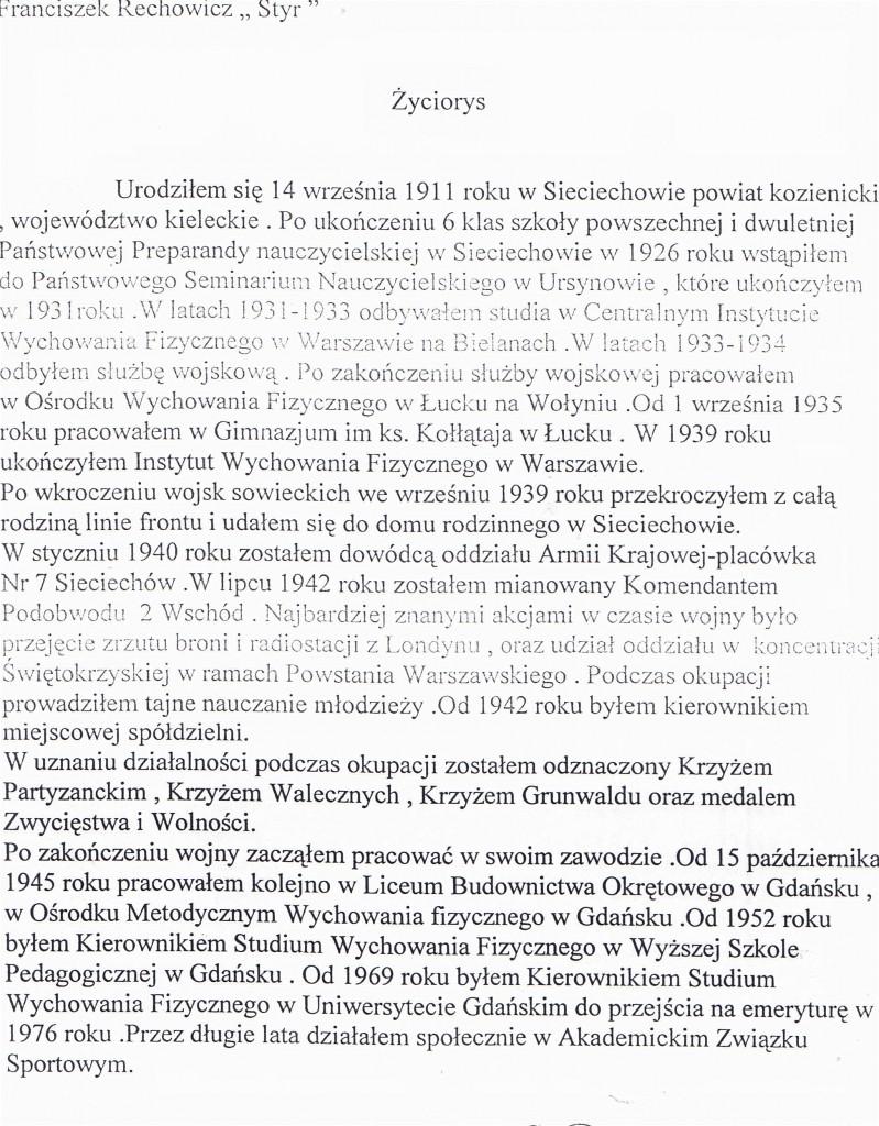 """Franciszek Rechowicz ps. """"Styr"""" dowódca plutonu sieciechowskiego AK"""
